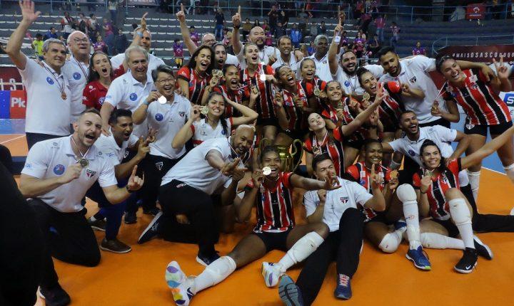 São Paulo Barueri surpreende mais uma vez, vence o Osasco Audax de virada e conquista o primeiro título Paulista Feminino de Vôlei